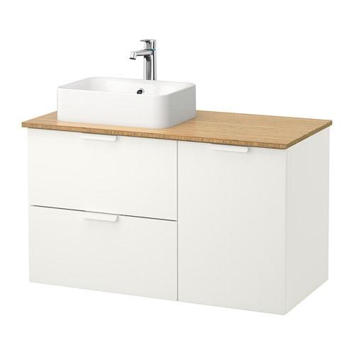 GODMORGON TOLKEN  HÖRVIK Allaskaluste+allas 45×32  bambu, valkoinen  IKEA