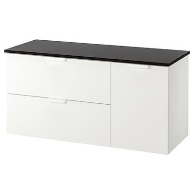 GODMORGON / TOLKEN allaskaluste 3 laatikkoa valkoinen/antrasiitti 122 cm 49 cm 60 cm