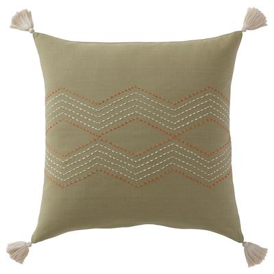 HALLVI Tyynynpäällinen, käsin tehty vihreä, 50x50 cm