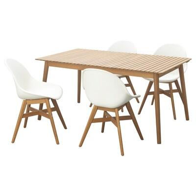 HATTHOLMEN / FANBYN Ulkokalustesetti (pöytä/4 tuolia), eukalyptus vaalea tammi/valkoinen