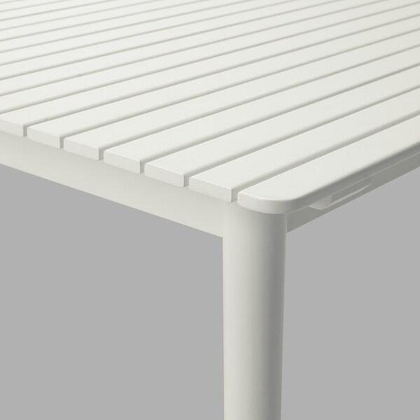 HATTHOLMEN Jatkettava pöytä, ulkokäyttöön, eukalyptus/valkoinen, 159/211x91 cm