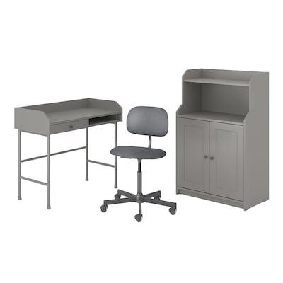 HAUGA/BLECKBERGET Työpöytä- ja säilytyskokonaisuus, ja pyörivä tuoli harmaa
