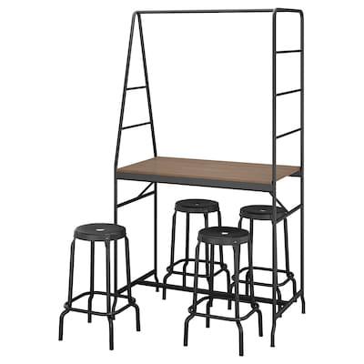 HÅVERUD / RÅSKOG Pöytä + 4 jakkaraa, musta/musta, 105 cm