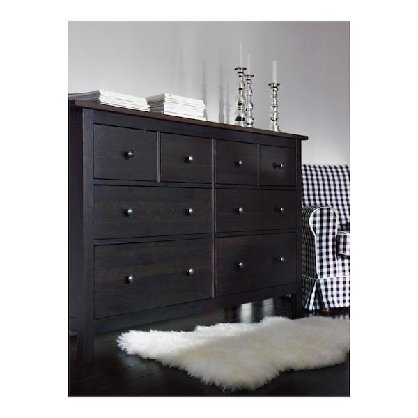 HEMNES Lipasto, 8 laatikkoa, mustanruskea, 160x96 cm