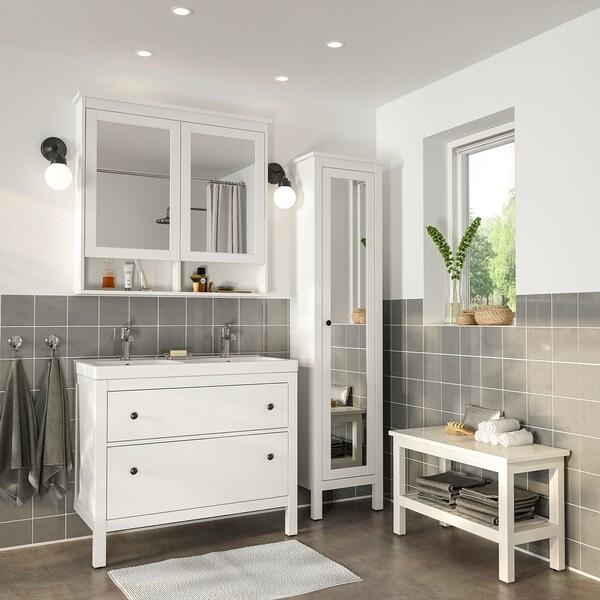 HEMNES / ODENSVIK kylpyhuoneen kalusteet, 6 kpl valkoinen/VOXNAN-hana 103 cm 60 cm 49 cm 89 cm