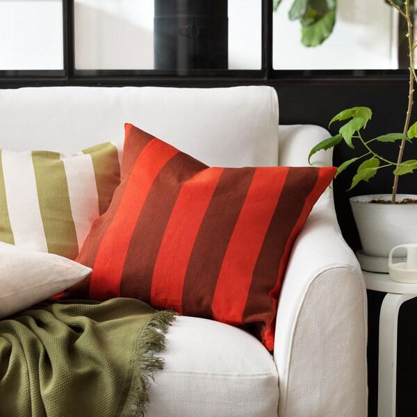 HILDAMARIA Tyynynpäällinen, vihreä luonnonvärinen/raidallinen, 50x50 cm