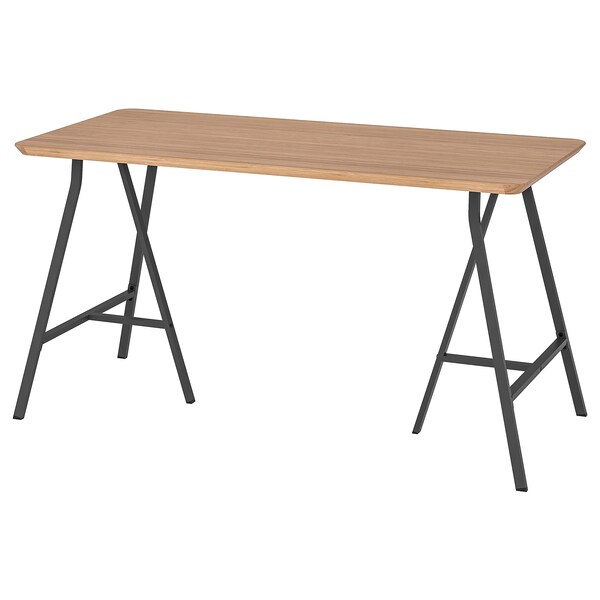 HILVER / LERBERG Pöytä, bambu/harmaa, 140x65 cm