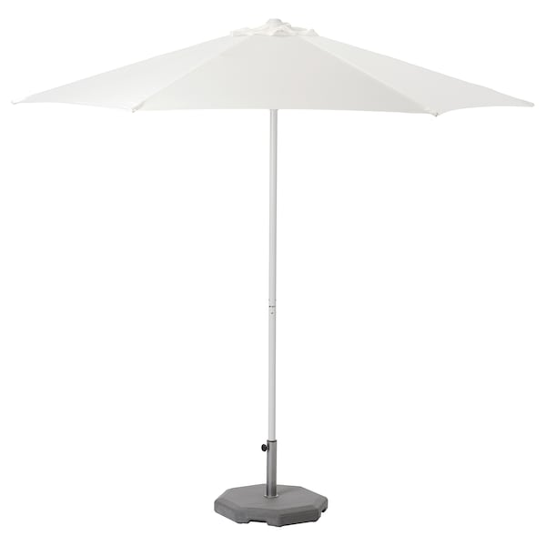 HÖGÖN Jalallinen auringonvarjo, valkoinen/Huvön tummanharmaa, 270 cm