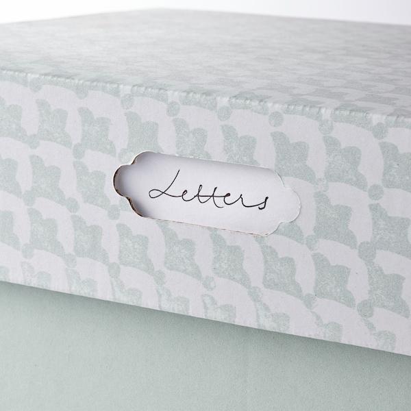 HYVENS Kannellinen säilytyslaatikko, harmaanvihreä valkoinen/paperi, 33x23x15 cm