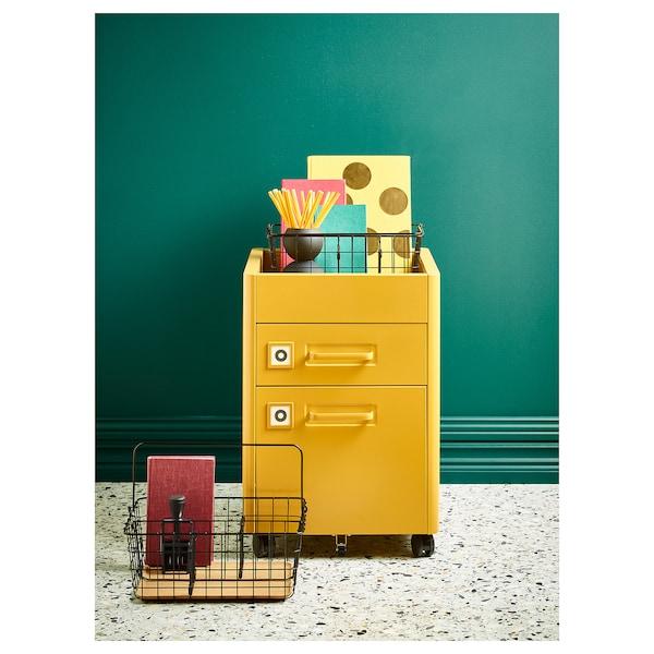 IDÅSEN Laatikosto + pyörät, kullanruskea, 42x61 cm