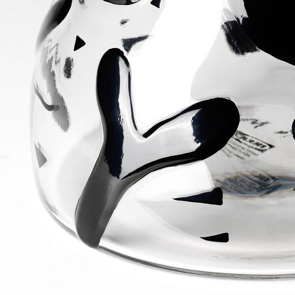 IKEA ART EVENT 2021 Maljakko, kirkas lasi/musta, 25 cm
