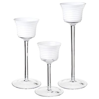 INBJUDEN Lämpökynttilän pidike, 3 kpl, kirkas lasi/lasi valkoinen