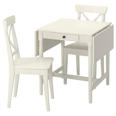 INGATORP / INGOLF Pöytä + 2 tuolia, valkoinen/valkoinen