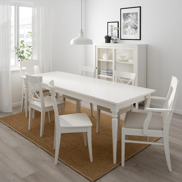 INGATORP / INGOLF pöytä + 6 tuolia valkoinen/Nordvalla beige 155 cm 215 cm 87 cm 74 cm