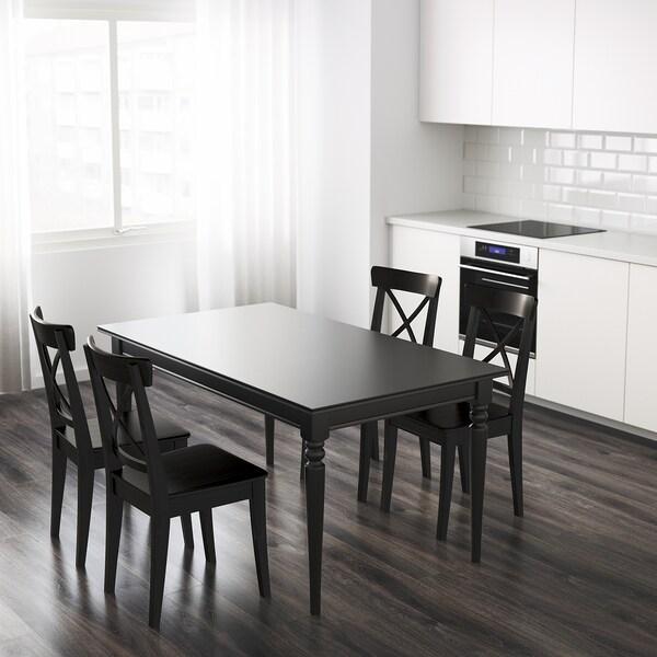 INGATORP Ruokapöytä, jatkettava, musta, 155/215x87 cm