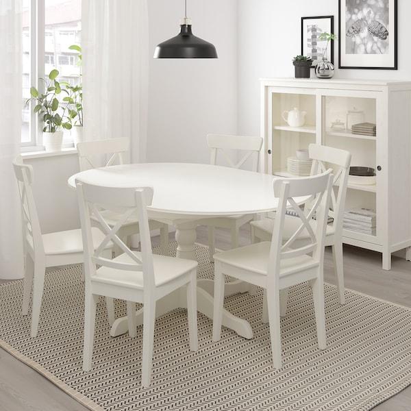 INGATORP Ruokapöytä, jatkettava, valkoinen, 110/155 cm