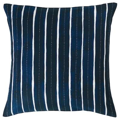 INNEHÅLLSRIK Tyynynpäällinen, käsin tehty sininen/valkoinen, 50x50 cm