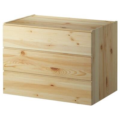 IVAR Lipasto, 3 laatikkoa, mänty, 80x57 cm