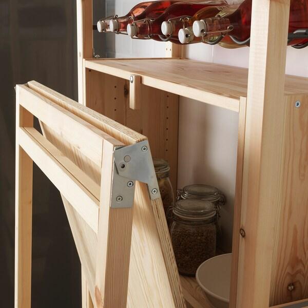 IVAR Säilytyskaluste, jossa taittopöytä, mänty, 80x30-104x155 cm