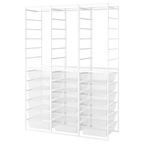 JONAXEL Vaatekaappikokonaisuus, valkoinen, 148x51x207 cm