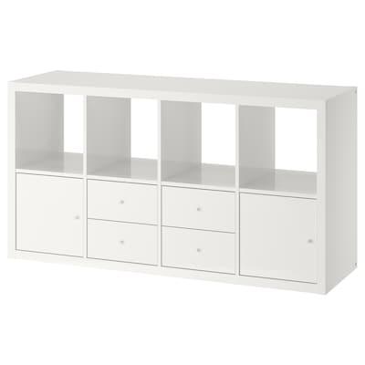 KALLAX Hylly ja 4 sisustetta, korkeakiilto/valkoinen, 77x147 cm
