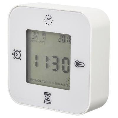 KLOCKIS kello/lämpömitt/herätysklo/ajastin valkoinen 7 cm 3 cm 7 cm