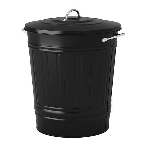 KNODD Kannellinen tynnyri  musta, 40 l  IKEA