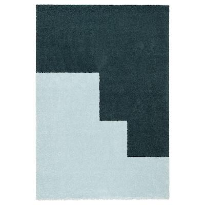 KONGSTRUP Matto, korkea nukka, vaaleansininen/vihreä, 133x195 cm