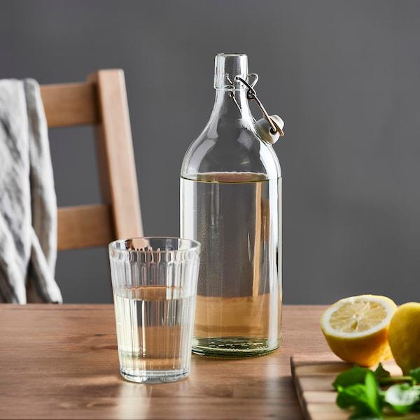 KORKEN Pullo + korkki, kirkas lasi, 1 l