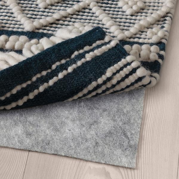 KRAGHAVE Matto, kudottu, käsin tehty luonnonvalkoinen/tummansininen, 170x240 cm