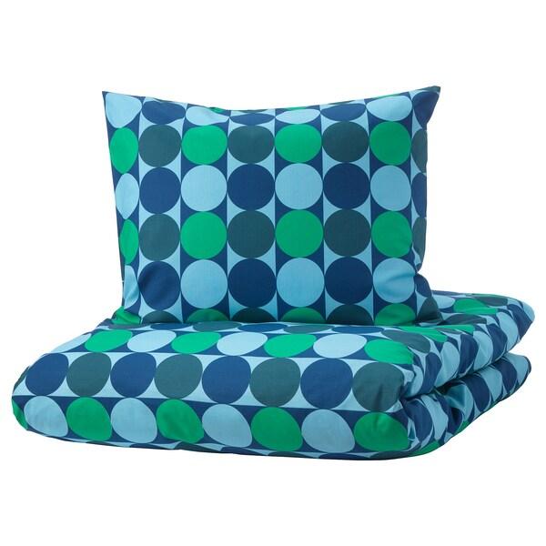 KROKUSLILJA pussilakana + 2 tyynyliinaa sininen/vihreä 152 neliötuuma 2 kpl 220 cm 240 cm 50 cm 60 cm