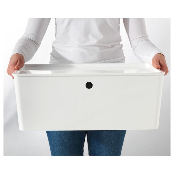 KUGGIS kannellinen laatikko valkoinen 37 cm 54 cm 21 cm
