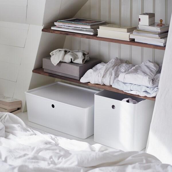 KUGGIS Kannellinen laatikko, valkoinen, 37x54x21 cm