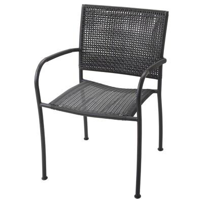 LÄCKÖ Käsinojallinen tuoli, ulkokäyttöön, harmaa