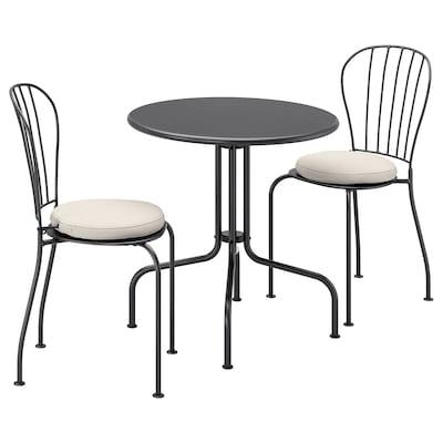 LÄCKÖ Ulkokalustesetti (pöytä/2 tuolia), harmaa/Frösön/Duvholmen beige