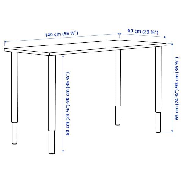 LAGKAPTEN / OLOV Työpöytä, tummanharmaa/valkoinen, 140x60 cm