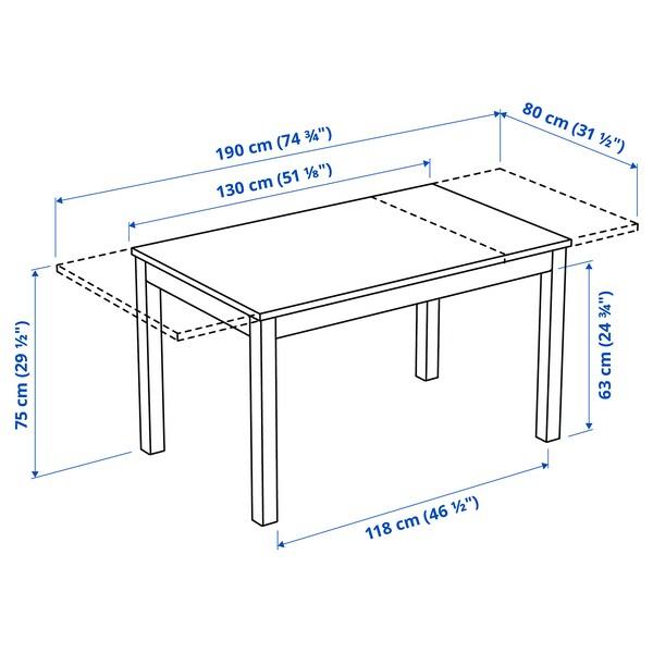 LANEBERG / EKEDALEN Pöytä + 4 tuolia, valkoinen/valkoinen vaaleanharmaa, 130/190x80 cm