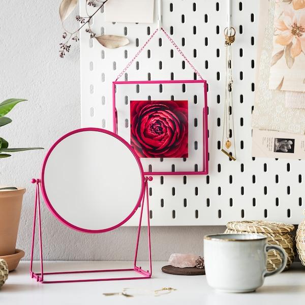LASSBYN Pöytäpeili, roosa, 17 cm