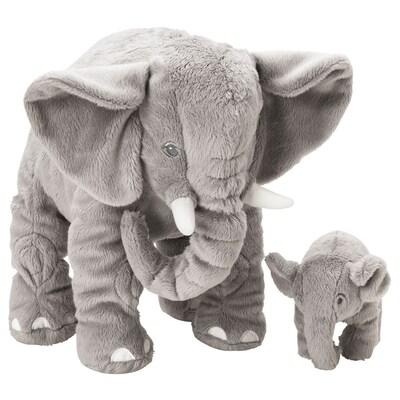 LEDDJUR Pehmoeläin, 2 kpl, elefantti/harmaa