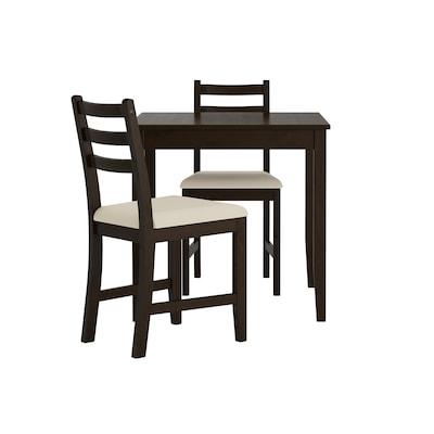 LERHAMN Pöytä + 2 tuolia, mustanruskea/Vittaryd beige, 74x74 cm