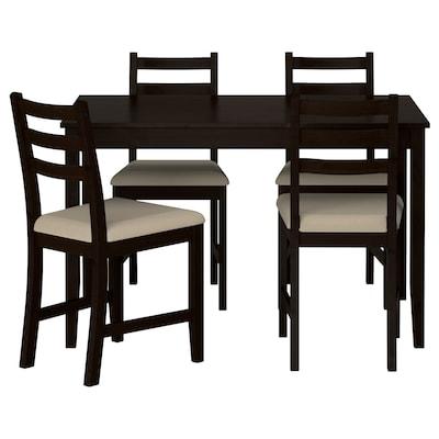LERHAMN Pöytä + 4 tuolia, mustanruskea/Vittaryd beige, 118x74 cm