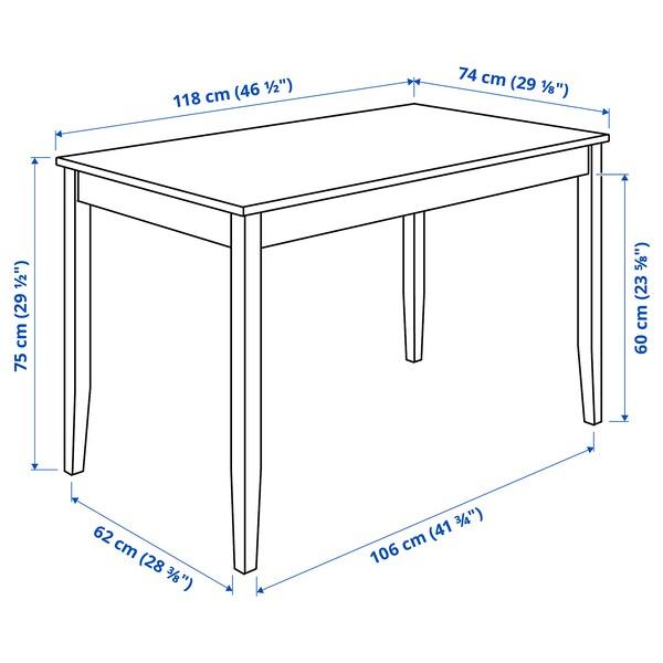 LERHAMN Pöytä + 4 tuolia, vaalea antiikkipetsi valkoiseksi petsattu/Vittaryd beige, 118x74 cm