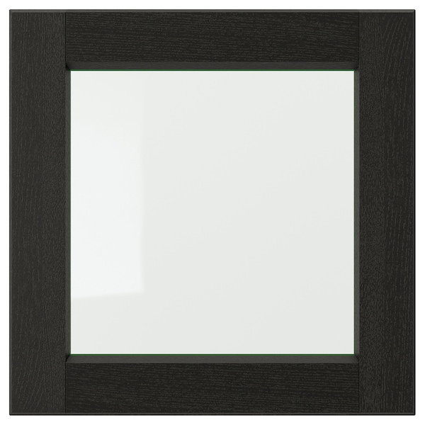 LERHYTTAN Vitriiniovi, mustaksi petsattu, 40x40 cm