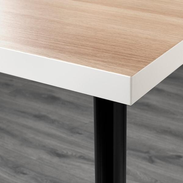 LINNMON / ADILS Pöytä, valkoinen vaaleaksi petsattu tammikuvio/musta, 150x75 cm