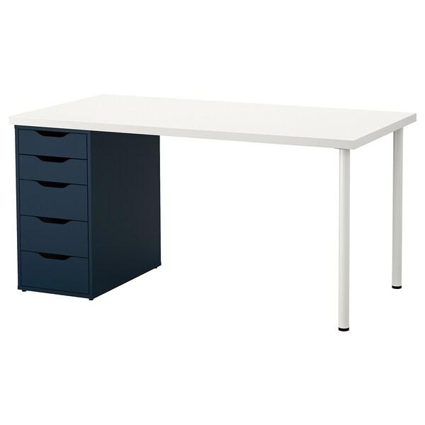 LINNMON / ALEX Pöytä, valkoinen/sininen, 150x75 cm