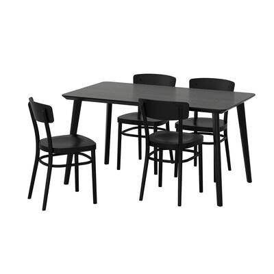 LISABO / IDOLF Pöytä + 4 tuolia, musta/musta, 140x78 cm