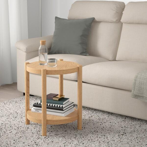 LISTERBY apupöytä valkoiseksi petsattu tammi 56 cm 50 cm