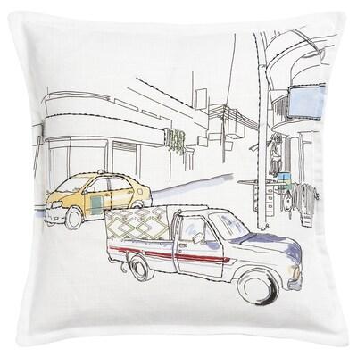 LOKALT Tyynynpäällinen, valkoinen keltainen/käsin tehty, 50x50 cm