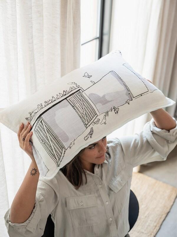 LOKALT Tyynynpäällinen, valkoinen liila/käsin tehty, 65x40 cm
