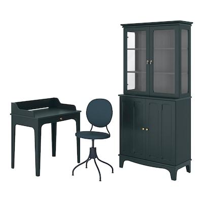 LOMMARP/BJÖRKBERGET Työpöytä- ja säilytyskokonaisuus, ja pyörivä tuoli sinivihreä